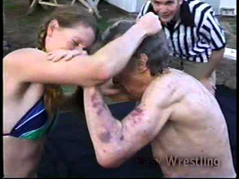 Old Man vs Young Woman (Easy Wrestling)