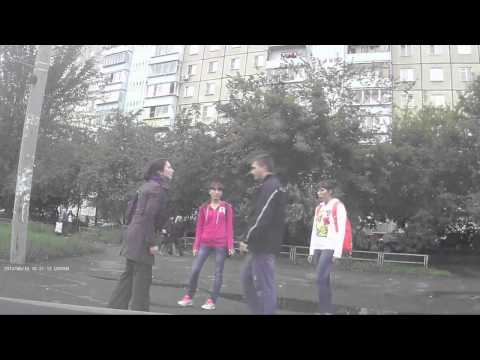 Russian girl knocks down a guy on the street