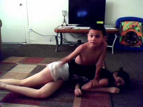 wrestling my 7 yr old nephew..