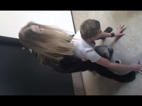 He gets beaten up by a girl